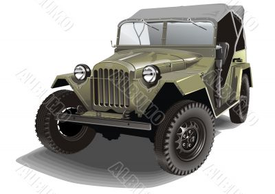 Vector retro army car