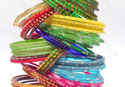 Glass bangles stacked