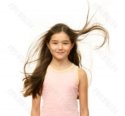 Girl`s teenager with long hairs