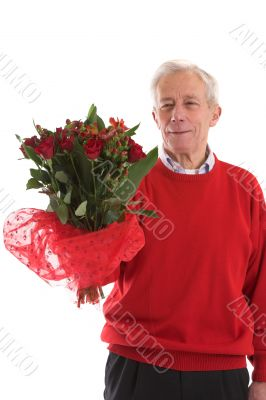 Elderly man with flowers