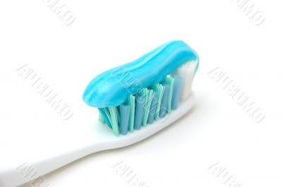 Close up of toothbrush with gel