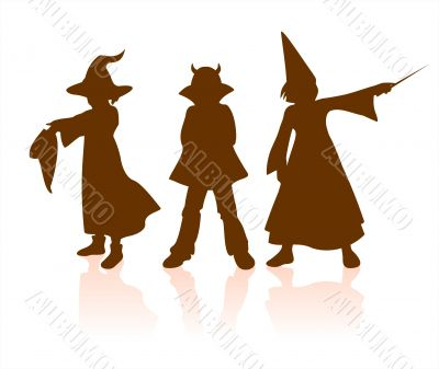children halloween silhouettes