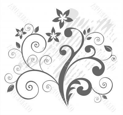 grey botanical pattern