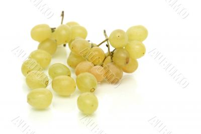 Cluster of green tasty grapes