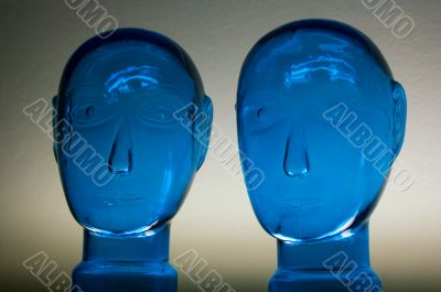 glass dark blue heads