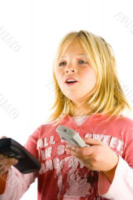 Young girl watching TV