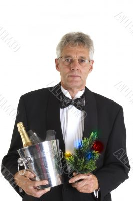 man in tuxedo with christmas