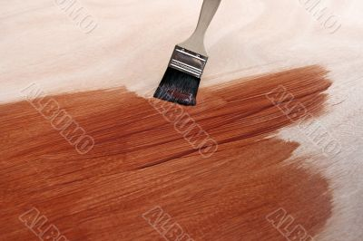 Newly painted wooden surface and brush