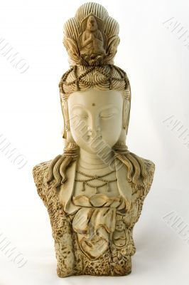 Isolated Buddha sculpture