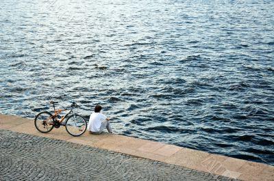 Biker taking a break.