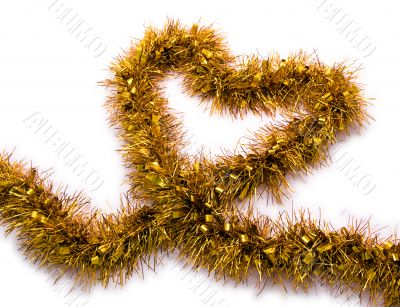 Gold Tinsel Christmas Decoration in the Shape of a Heart
