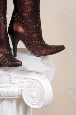 leather female boots