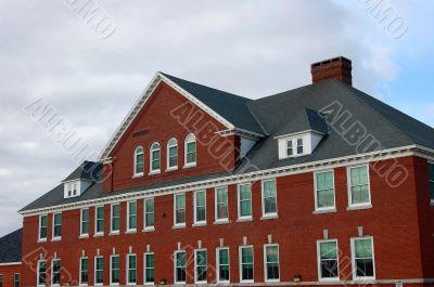 imposing brick building