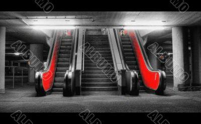 grainy red escalator tonemapped