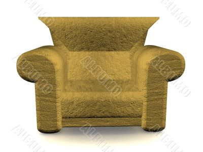 Soft armchair on a white background. 3D image.