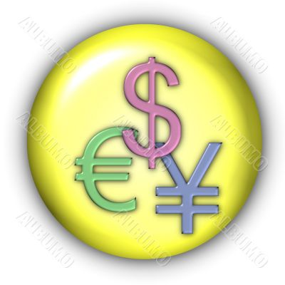 Currency Icon - Dollar, Yen, Euro