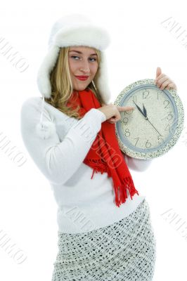 Beautiful woman   with hour