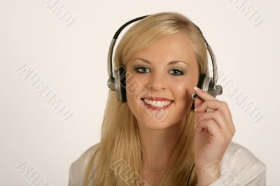 Isolated sharp image of woman with headset on
