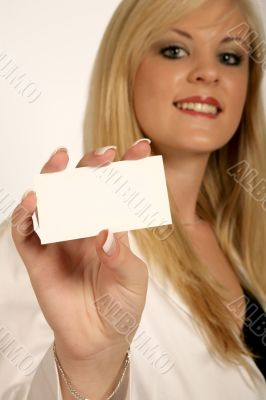 Businesswoman hands, woman holding Card