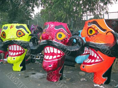 Ravana head effigies for Dussehra festival