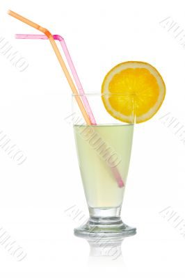 Juice with a lemon slice and straws
