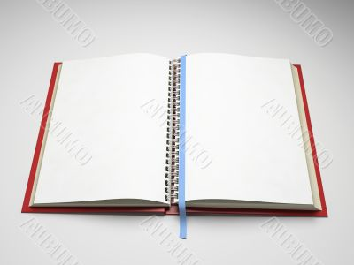 Empty pages of open notebook isolated on white background