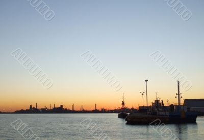 Harbor and Industry at Dawn