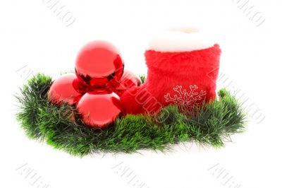 Christmas sock with red balls and fir decoration
