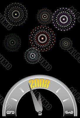 new year clock w-fireworks