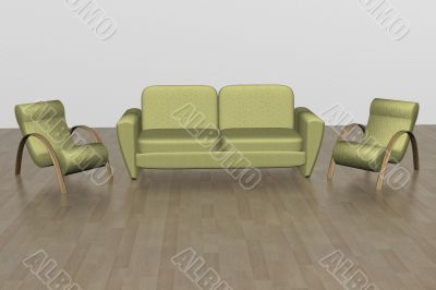 Two armchairs and sofa. An interior. 3D image.