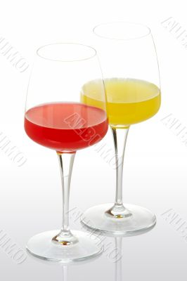 Two glasses with beverages