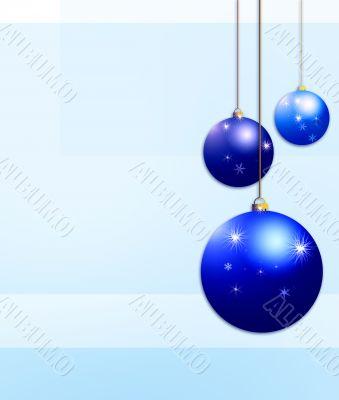 three blue Twinkling Christmas baubles