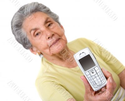 grandmother with a mobile phone on her hand
