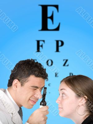 eye test chart with doctor and patient