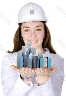 corporate female architect smiling