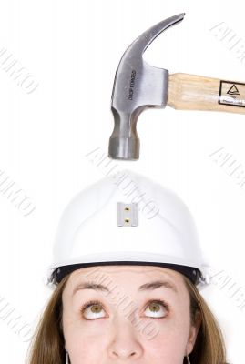 girl hoping safety helmet works