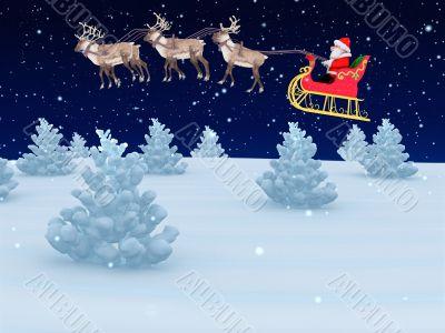 santa with sleigh on christmas eve
