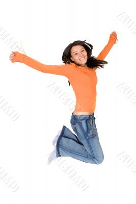 girl jumping of joy