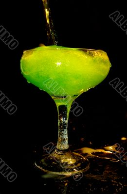 green drink in the glass