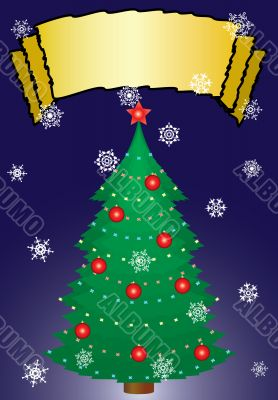 Christmas fur-tree with ornament. A greeting card.