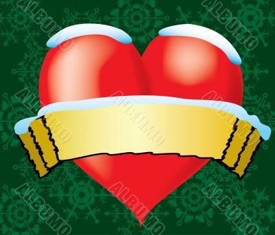 Heart and banner. A greeting card.