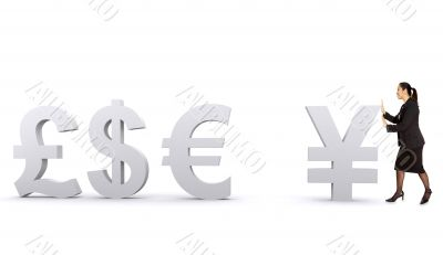 world currencies - business woman pushing yen
