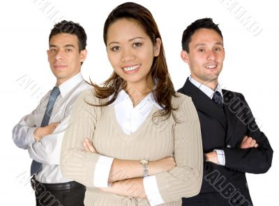 asian entrepreneur and her business team
