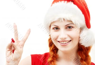 happy santa helper showing victory sign
