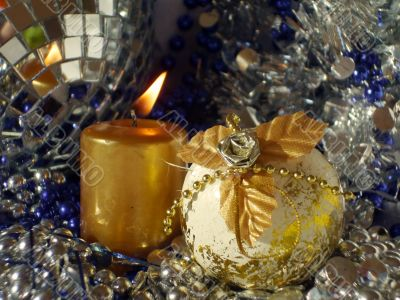 candle and Christmas bauble