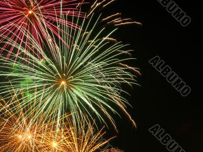 Fireworks against a night copyspace