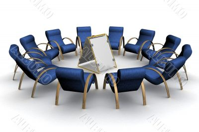 Twelve armchairs around of a poster. 3D image.