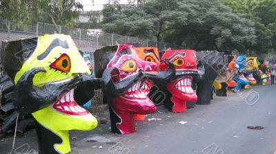 Ravana head effigies on the street