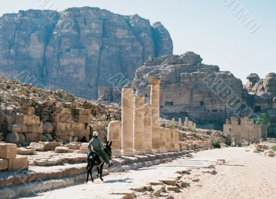 The boy on a donkey to Jordan, Petra city