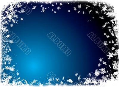 christmas flake border blue